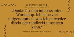 """Bernhard Colsman zum Online-Workshop """"Clever schreiben"""""""